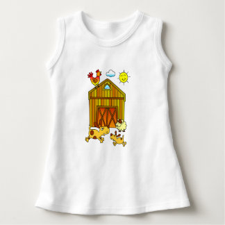 Two Dogs, Mummy and Baby, Playing Around Barn Dress