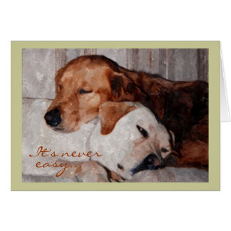 Two Dogs Snuggling, Pet Loss Sympathy Greeting Card