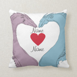 Two Dragons forming a heart customizable Pillows