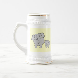 Two Elephants. Cute Adult and Baby Cartoon. Beer Steins