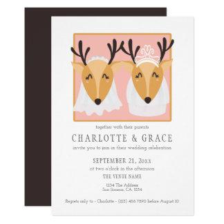 Two Female Deer Brides Gay Lesbian Wedding Card