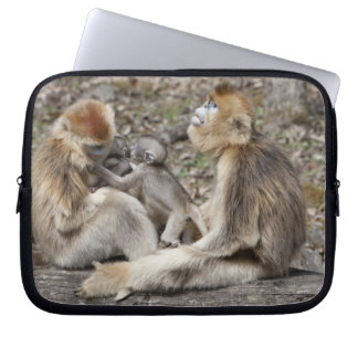 Two female Golden Monkeys with newborns Laptop Sleeve