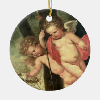 Two Flying Cherubs, holding the Crown of Thorns an Christmas Ornament