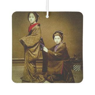 Two Geisha Adjusting a Kimono Vintage Japanese