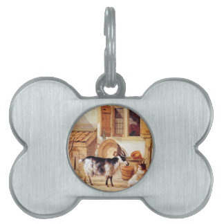 Two goats in a yard by Abraham van Strij Pet Tag