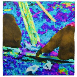 two gorillas sitting backs bright colored blobs napkin