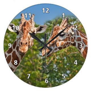 Two Gossiping Giraffes Large Clock