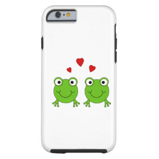 Two green frogs with red hearts. tough iPhone 6 case