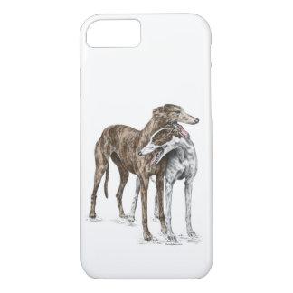 Two Greyhound Friends Dog Art iPhone 8/7 Case