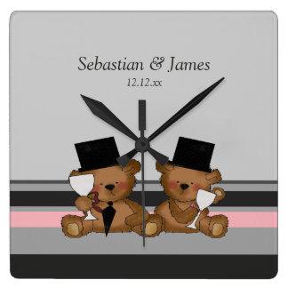 Two Groom Teddy Bears Wall Clock
