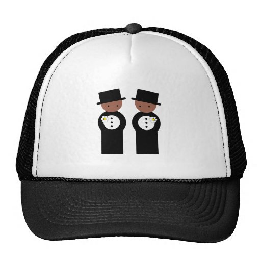Two grooms mesh hats