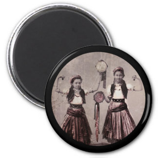 Two Gypsy Girls with Tambourines 6 Cm Round Magnet