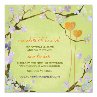 Two Hearts Lime Green Spring Wedding Save The Date Card