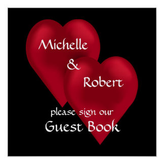 Two Hearts One Love Wedding Guest Book Poster