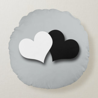 Two Hearts Round Pillow