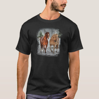 Two Horse Sweethearts in the Snow Photo Art T-Shirt