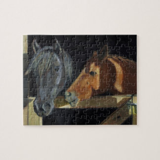 Two Horses At Barn Door: Oil Pastel Art Jigsaw Puzzle