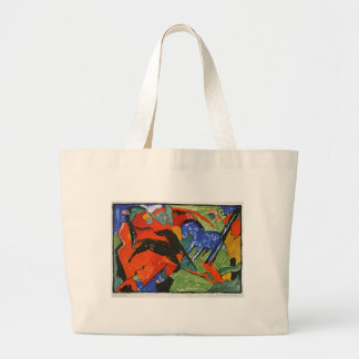 Two Horses by Franz Marc Large Tote Bag