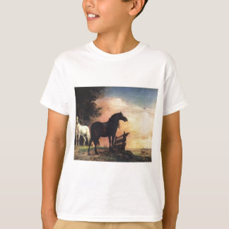 Two Horses in a Meadow near a Gate T-Shirt
