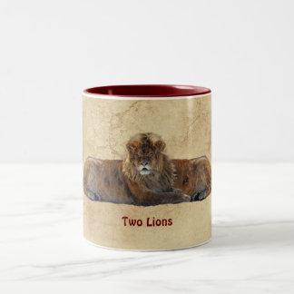 Two Lions Symmetrical Wildlife Art Coffee Mug