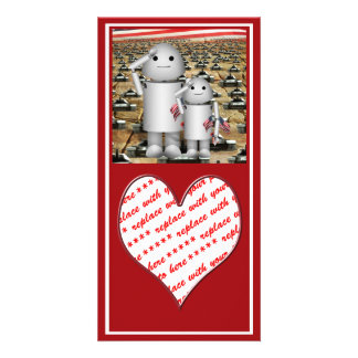 Two Little Patriotic Robots with Lots of Tanks Photo Cards