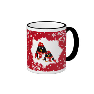 Two Little Penguins Custom Name Christmas Gift Mug