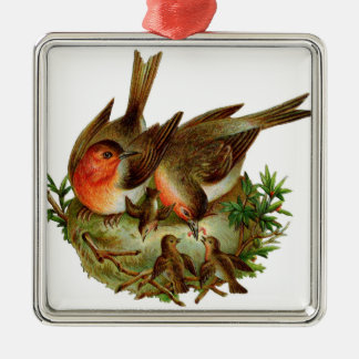 Two lovely adult Robins along with their Babies Christmas Ornament