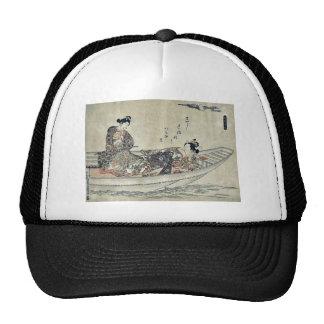 Two lovers in a boat by Okumura, Masanobu Ukiyoe Hat