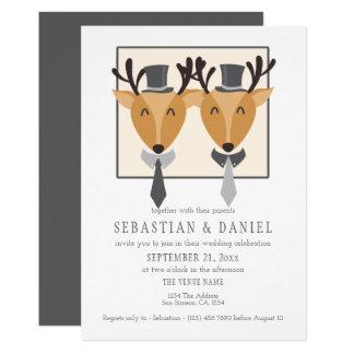 Two Male Deer In Ties And Top Hats Gay Wedding Card
