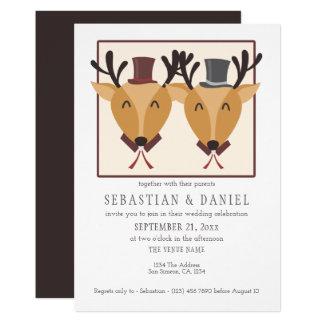 Two Male Deer In Top Hats Gay Wedding Card
