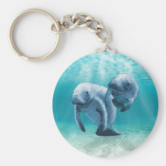 Two Manatees Swimming Key Ring