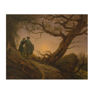 Two Men Contemplating the Moon Wood Canvases