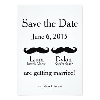 """""""Two Mustaches"""" Save the Dates 5x7 Paper Invitation Card"""