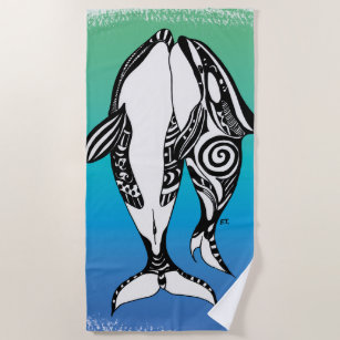 9fc652b8c Two Orca Killer Whales Tribal Doodle Teal Blue Beach Towel