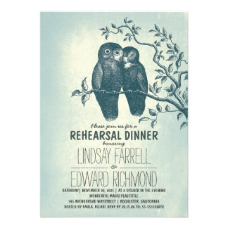 two owls in love tree branch rehearsal dinner cards