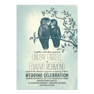 two owls in love tree branch wedding invitations