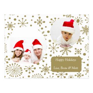 Two Photo Golden Snowflake Holiday Postcard
