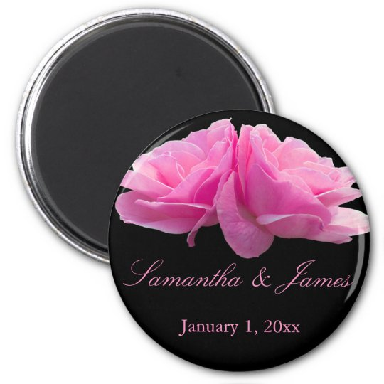 Two Pink Roses Personal Wedding Magnet