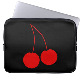 Two Red Cherries on Black. Laptop Sleeves