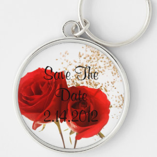 Two Red Roses Silver-Colored Round Key Ring