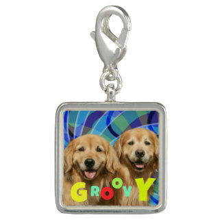 Two Retro Golden Retriever Dogs Psychedelic Groovy