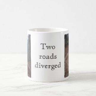 Two roads diverged basic white mug