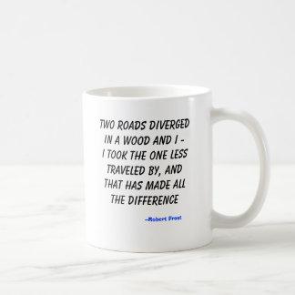 Two roads diverged in a wood and I -I took the ... Basic White Mug