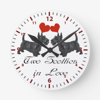 Two Scotties in Love Multi products selected Round Clock