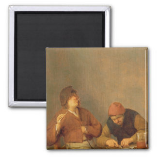 Two Smokers in an Interior, 1643 Square Magnet