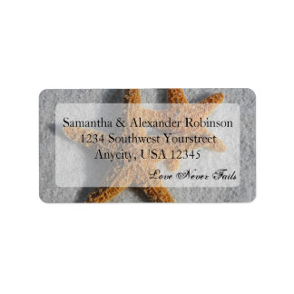 Two Starfish in the Sand, Beach Wedding Label
