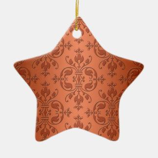 Two Tone Copper Orange Damask Ceramic Star Decoration