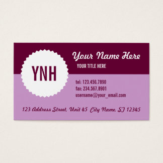 Two Tone Seal Business Card Template, Purples