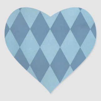 Two Toned Blue Harlequins Heart Sticker
