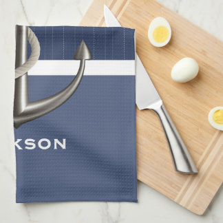 Two-toned Blue Pinstriped Anchor Towels